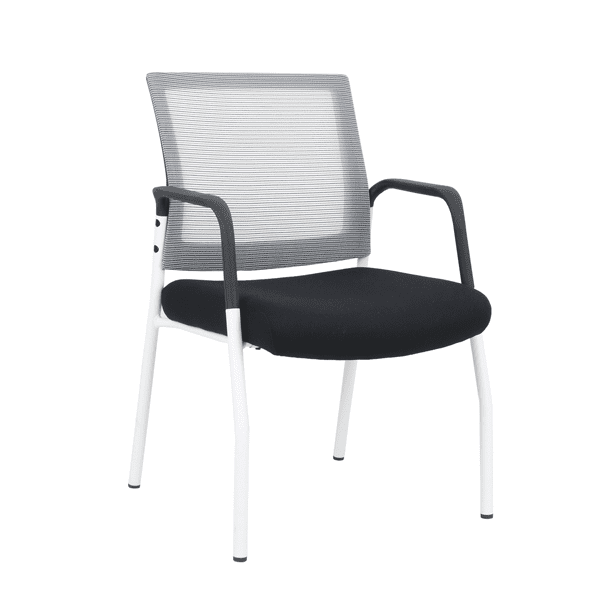 OFD-MI1500W White Frame Visitors Chair with Arms and White Mesh Back