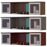 Mayline Safco Medina 2 Glass Door Open Wall Mounted Hutch - Textured Sea Salt - 5 Colors