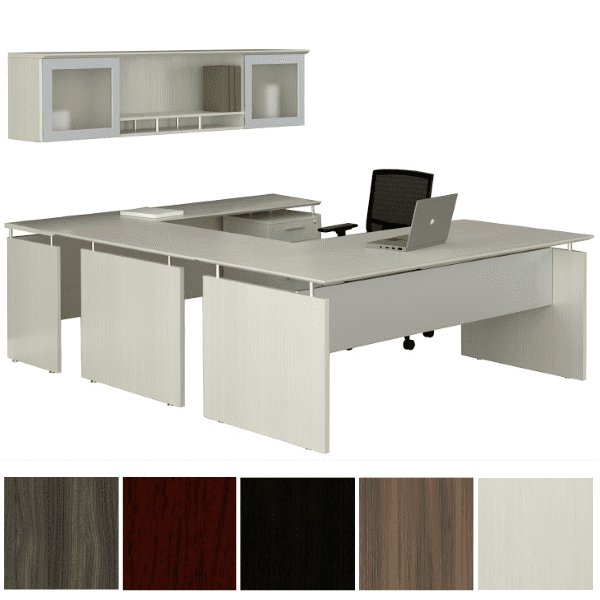 Mayline Safco Medina MNT39 90-Degree U-Shape Desk with Mobile File & 2 Glass Door Open Hutch - Right Handed - Textured Sea Salt - 5 Colors