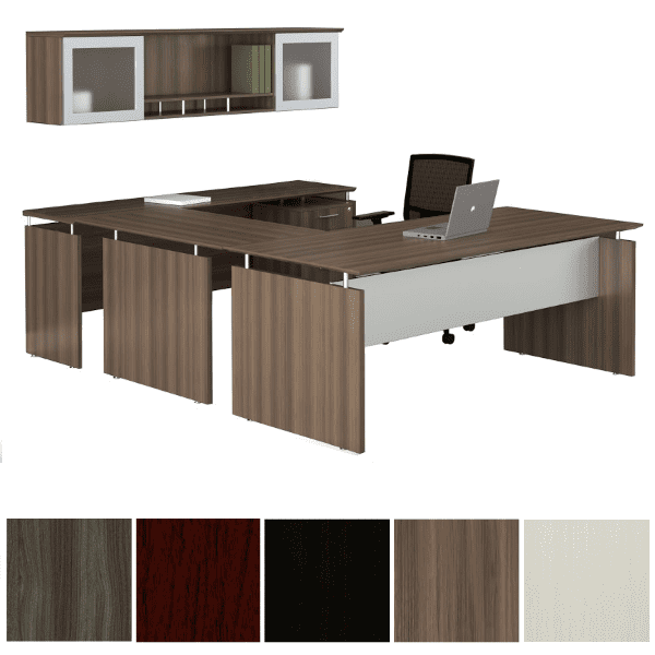 Mayline Safco Medina MNT39 90-Degree U-Shape Desk with Mobile File & 2 Glass Door Wall Mount Hutch - Textured Brown Sugar - 5 Colors