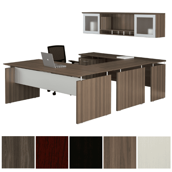 Mayline Safco Medina MNT39 90-Degree U-Shape Desk with Mobile File & 2 Glass Door Wall Mount Hutch - Textured Brown Sugar - Left Handed - 5 Colors