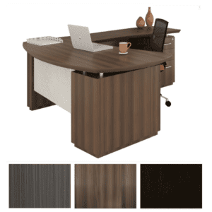 Mayline Safco Sterling L-Shape Desk with Front Acrylic Panel