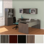 Medina L-Shaped Desk - Left Hand Return - with Optional Storage Glass Door Hutch and Optional Tall Storage Combo Cabinet - Gray Steel in 5 Colors