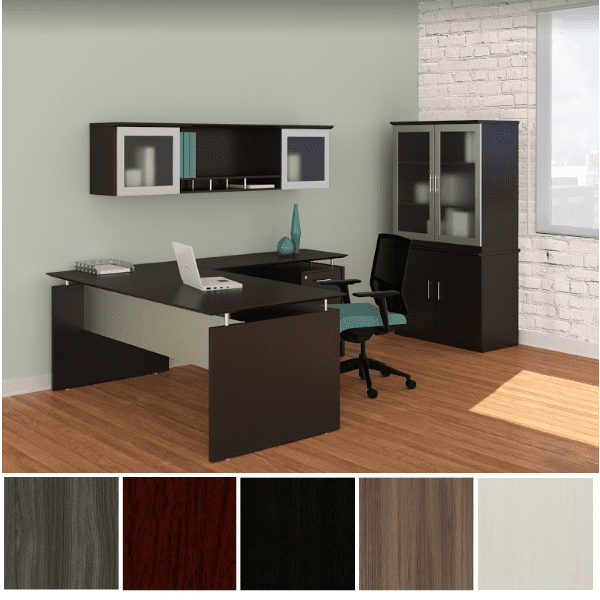 Medina L-Shaped Desk - Right Hand Return - with Optional Storage Glass Door Hutch and Optional Tall Storage Combo Cabinet - Mocha - 5 Colors