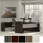 Medina U-Shaped Desk with Storage Glass Door Hutch and Storage Cabinet - Mocha - 5 Colors