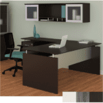 mnds72 L Shaped Desk with Wall Hutch - Left Return