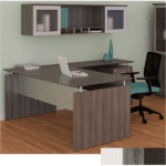 Steel Gray L-Shaped Desk with Glass Hutch