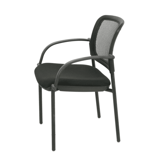 SX-4067 Black Mesh Back Guest Chair with Grade A Black Fabric Cushion - Side