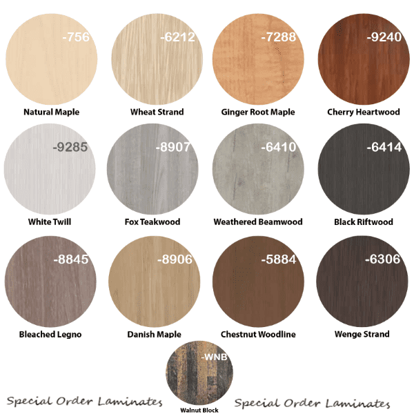 13 Special Order Laminate Worksurface Color Finishes