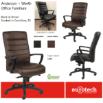 Anderson & Worth Office Furniture - Eurotech Seating Manchester High Back Executive Chair - Black or Brown Leather