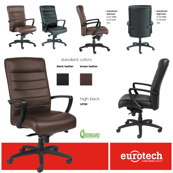 Anderson & Worth Office Furniture - Eurotech Seating Manchester High Back Executive Chair - Black or Brown Leather - Mid or High Back Models