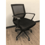 Black Mesh Office Chair with Black Fabric Seat