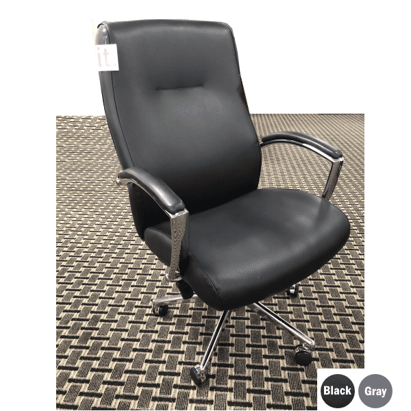 Contour High Back Knee Tilt Executive Chair - Bonded Black Leather - Available in Two Colors - 350 lbs rated