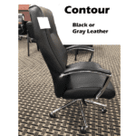 Contour High Back Knee Tilt Executive Chair - Bonded Black Leather - Side - Available in Two Colors - 350 lbs rated