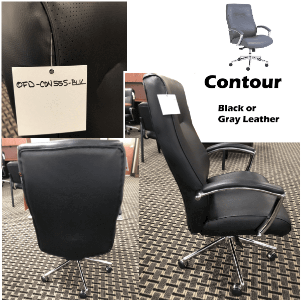 Contour High Back Knee Tilt Executive Chair - Bonded Black or Gray Leather - Side - Available in Two Colors - 350 lbs rated