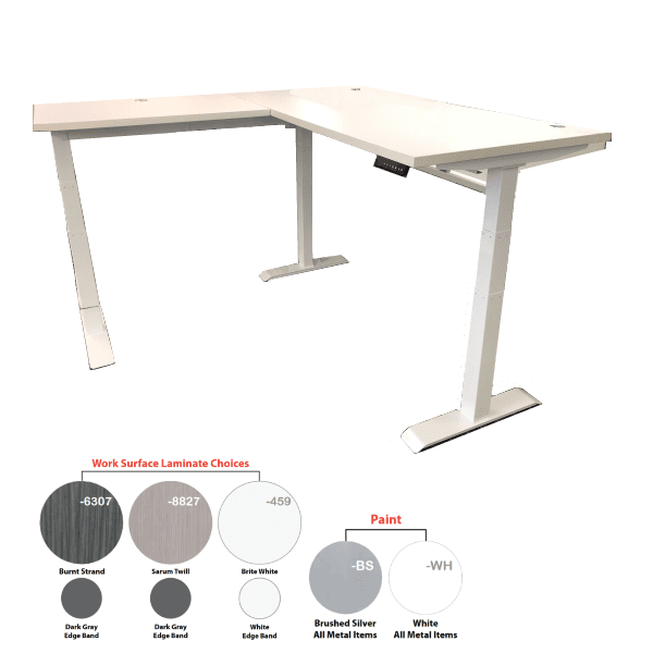 Electric L-Shape Height Adjustable Workstation - White Frame - White Top - 3 Colors Stocked - No Screen - Left Hand Return