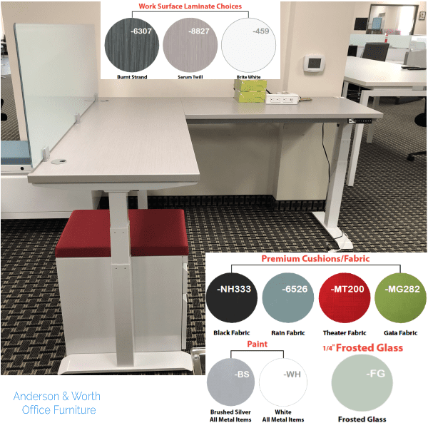 Electric L-Shape Height Adjustable Workstation - Silver Base with Serum Twill Top - Optional 18 Inch Frosted Glass Screen