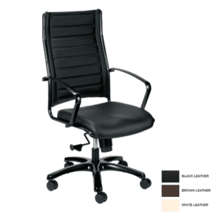 Europa High Back Leather Chair in Black Bonded Leather