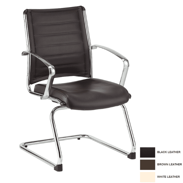 Europa Mid Back Guest Chair in Bonded Brown Leather