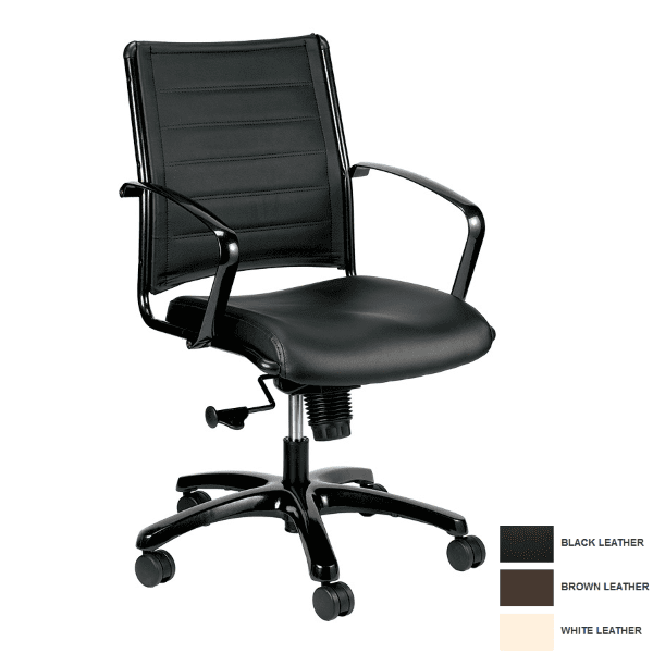 Europa Mid Back Leather Chair in Bonded Black Leather -