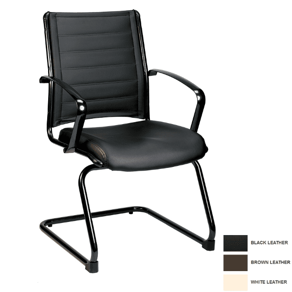 Europa Mid Back Leather Guest Chair in Bonded Black Leather