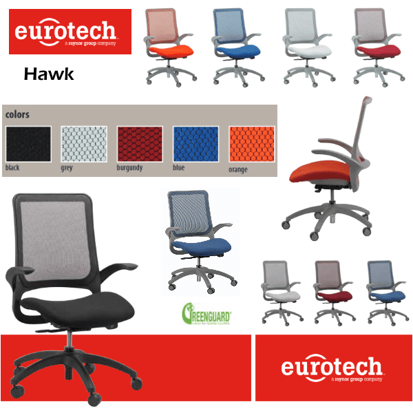 Eurotech Hawk Task Chair - 5 Mesh Back & Matching Seat Colors