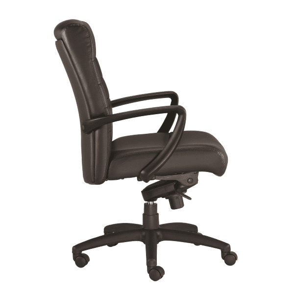 Eurotech Manchester Mid Back Executive Chair - Black Bonded Leather - 2 Colors Stocked - Side