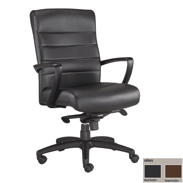 Eurotech Manchester Mid Back Executive Chair - Black Bonded Leather In Stock - 2 Colors