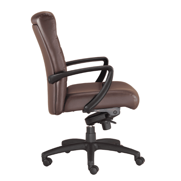 Eurotech Manchester Mid Back Executive Chair - Brown Bonded Leather - 2 Colors Stocked - Side