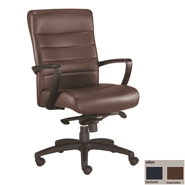 Eurotech Manchester Mid Back Executive Chair - Brown Bonded Leather In Stock - 2 Colors