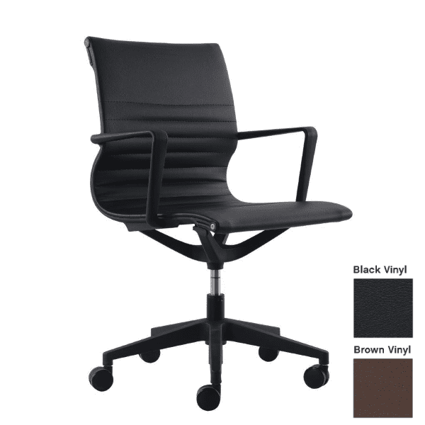 Kinetic Chair in Black Vinyl - Black or Brown Vinyl with Fixed Armrest