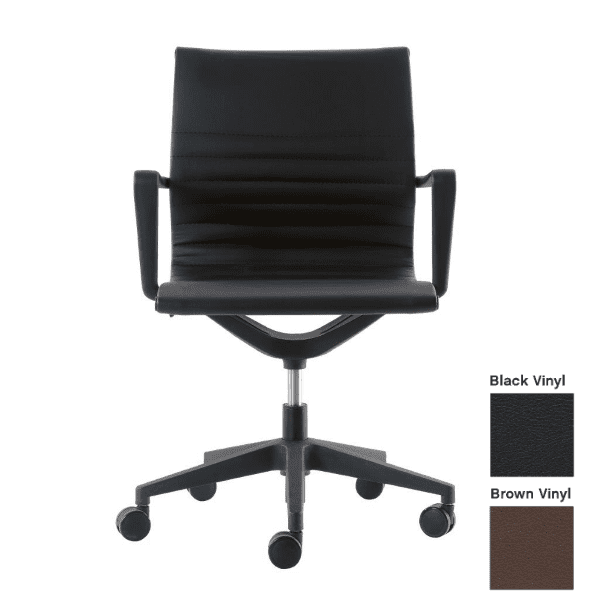 Kinetic Chair in Black Vinyl - Black or Brown Vinyl with Fixed Armrest - Front