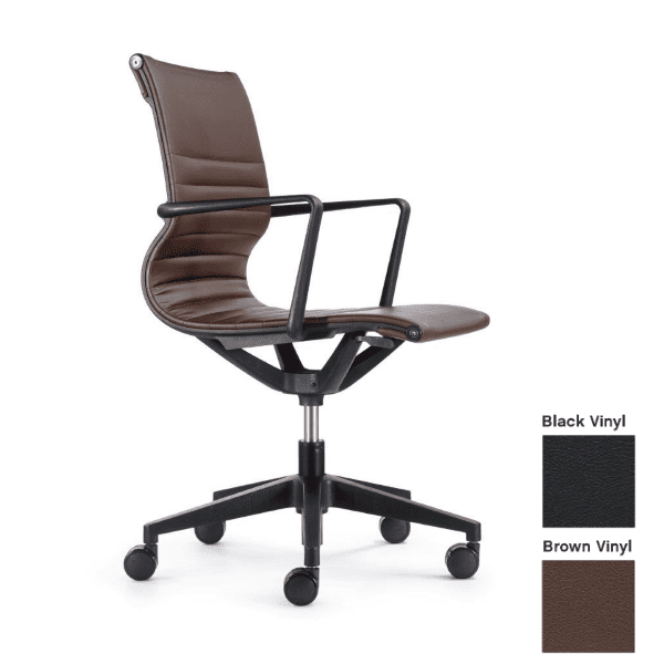 Kinetic Chair in Brown Vinyl with Fixed Armrest - Side