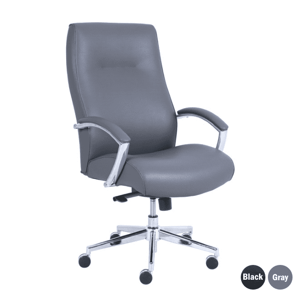 Contour Gray Bonded Leather with Padded Armrest & Chrome Frame Swivel Base