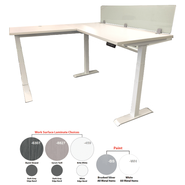 Lift it L Shape Workstation White with 12 Inch Frosted Glass Screen - Left Hand Return