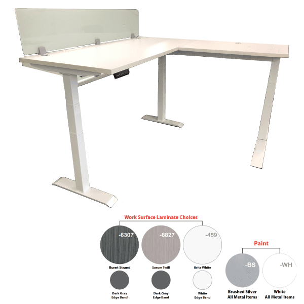 Lift it L Shape Workstation White with 12 Inch Frosted Glass Screen - Right Hand Return