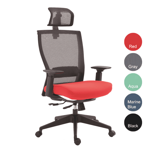 Executive Headrest Chair with Red Fabric