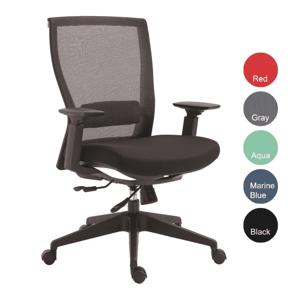 Mia EM-5600 Mesh Task Chair with Black Fabric Seat - 5 Seat Colors