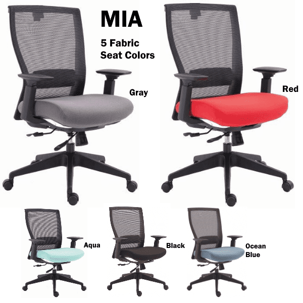 Mia EM-5600 Mesh Task Chairs in 5 Seat Colors - Stocked Local in Carrollton