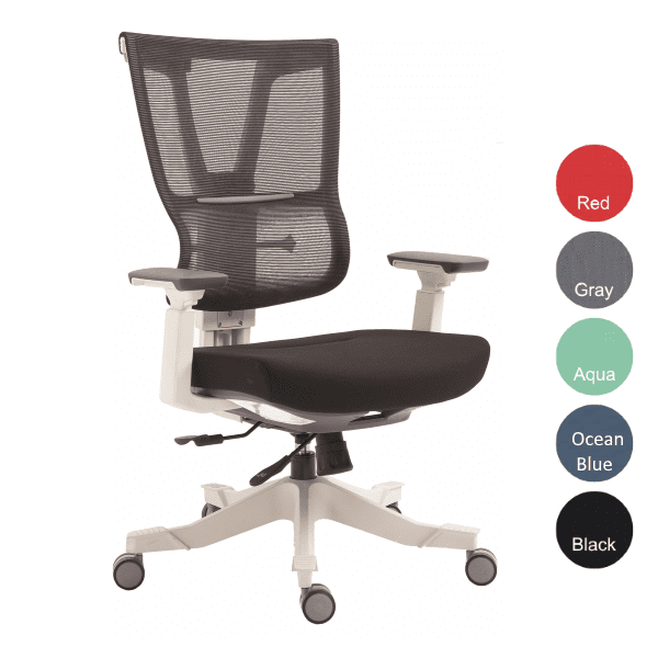 Moov Series EM-5350 White Frame with Mesh Executive Task Chair - Black Fabric on Molded Foam Seat Cushion