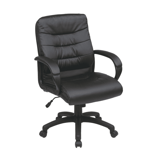 Mid Back Faux Black Leather Executive Chair