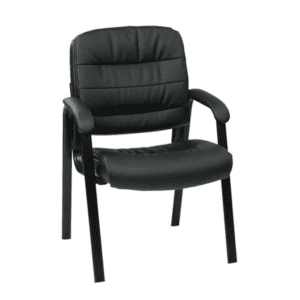 Mid Back Faux Black Leather Guest Chair