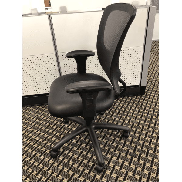 OFD500L Mesh It Generation II Task Chair with Mesh Back - Bonded Black Leather Molded Foam Seat Cushion - Right Side