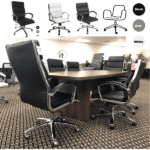 OFD6300 & 6350-BLK Tilt Lock Triple Segmented Mid Back Modern Leather Office Chair - Collage