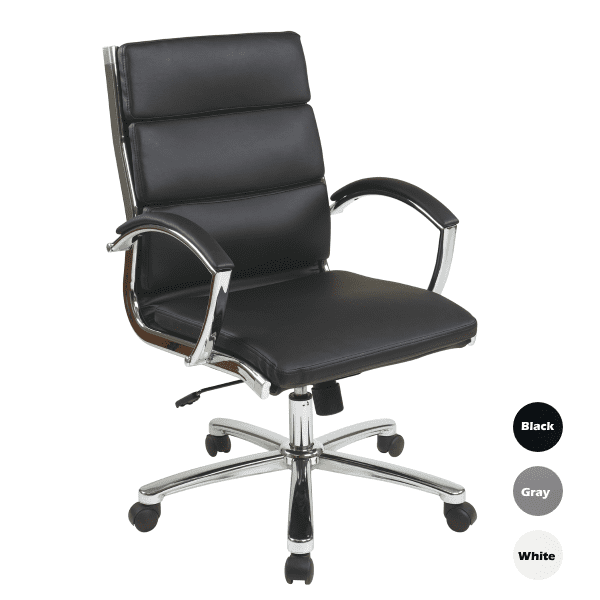 OFD6350-BLK Tilt Lock Segmented Back Mid-Back Executive Chair - Black Faux Leather - 3 Colors