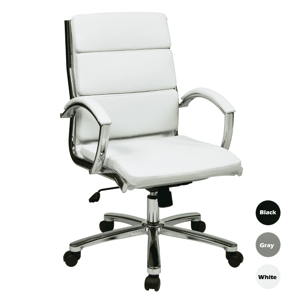 OFD6350 Tilt Lock Segmented Back Mid-Back Executive Chair - White Faux Leather - 3 Colors