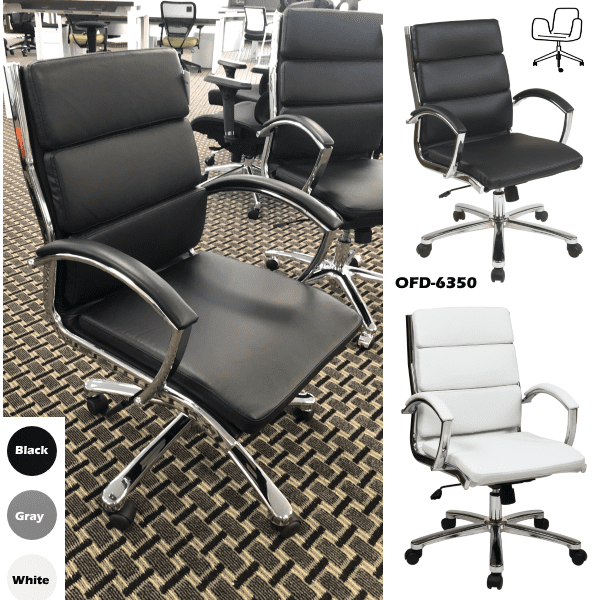OFD6350-BLK Tilt Lock Triple Segmented Mid Back Modern Leather Office Chair - Collage