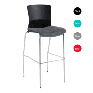 Raise Modern Metal Chrome Base Cafe Stool - Gray Fabric Seat