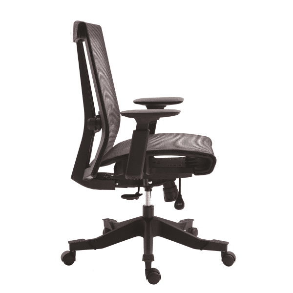 Twyst Series German Krall + Roth Flexible Black Mesh Back Task Chair - Black Mesh Wrap Seat - Side - EM5200-BLACK - 5 Seat Colors