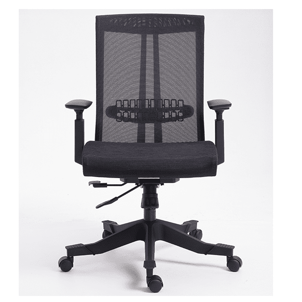 Twyst Series German Krall + Roth Flexible Black Mesh Back Task Chair - Front - Black Fabric Seat - EM5225-BLACK